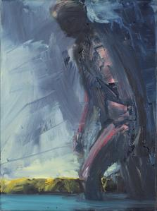 Euan MACLEOD (b.1956) - DARK FIGURE WALKING IN THE SEA