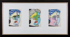 Howard ARKLEY (b.1951; d.1999) - STUDY FOR PICASSO HEAD (3 x purple green & beige)